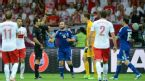 Referee Carlos Velasco Carballo (3rd left) shows Poland goalkeeper Wojciech Szczesny (3rd right) a straight red card, Poland v Greece, Warsaw, June 8, 2012